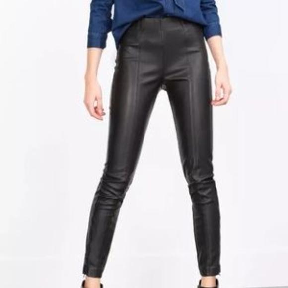 66fa76a7 Zara Pants | High Waist Ankle Zip Faux Leather Skinny Pant | Poshmark